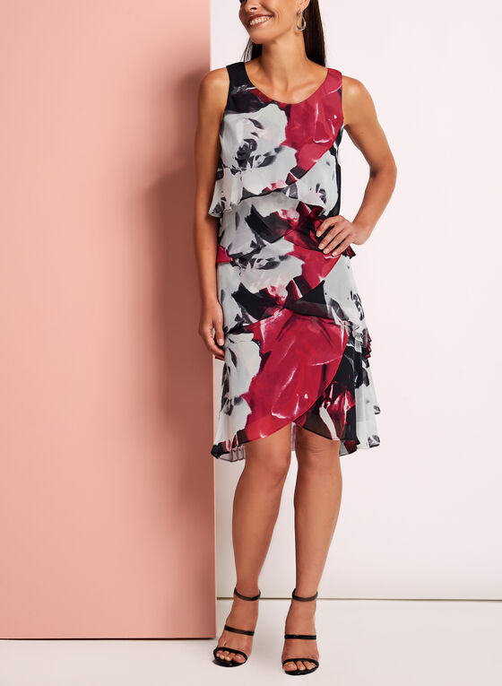 Tiered Floral Print Chiffon Dress, Black, hi-res