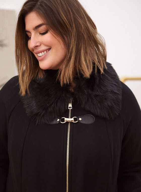 Stretch Wool Blend Coat, Black