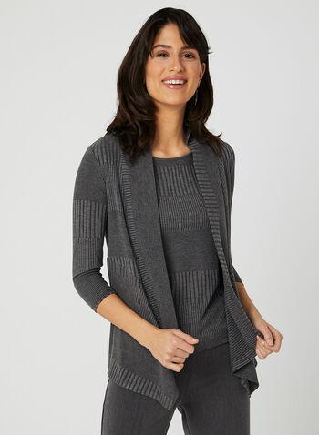 Open Front Rib Knit Top, Grey, hi-res