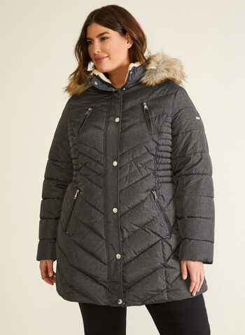 Laundry - Quilted Vegan Down Coat, Grey,  Fall winter 2020, quilted, vegan down, herringbone, faux fur, thermatec, removable hood, long sleeves