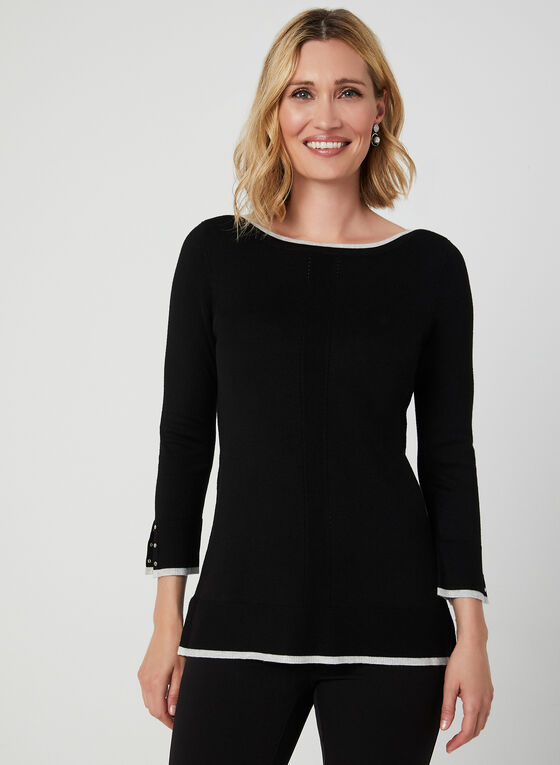 Contrast Trim Sweater, Grey, hi-res