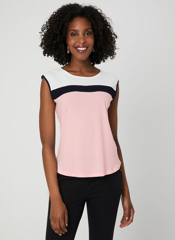Sleeveless Colour Block Top, Pink, hi-res