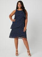 Polka Dot Tiered Dress, Blue, hi-res