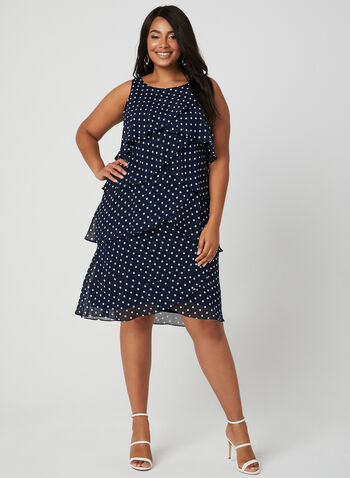 Polka Dot Tiered Dress, Blue, hi-res,  Spring 2019, tiered, sleeveless, chiffon