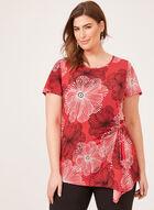 Blouse motif floral graphique et lien à nouer, Rouge, hi-res