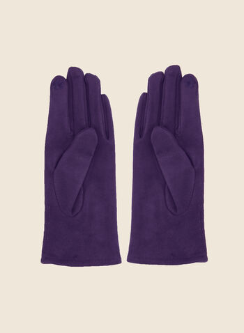 Faux Suede Button Gloves, Purple,  Fall winter 2020, gloves, accessories, faux suede, button detail, stitching