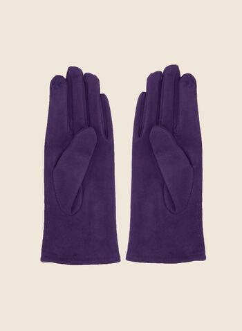 Gants imitation suède à boutons, Violet,  automne hiver 2020, gants, suède, boutons, accessoire