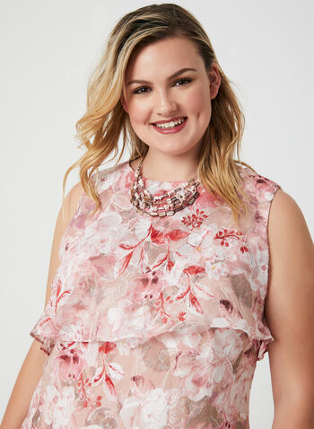 Jessica Howard - Floral Print Chiffon Dress, Pink, hi-res,  sleeveless, satin, summer 2019, spring 2019