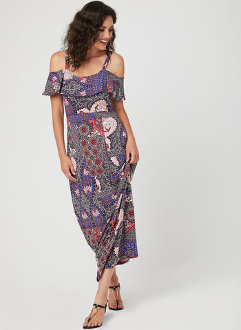 Nina Leonard - Cold Shoulder Maxi Dress, Blue, hi-res