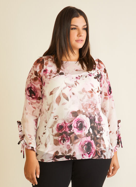 Floral Print Ruffle Detail Blouse, White