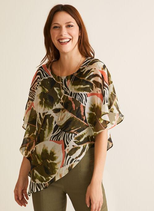 Tropical Print Poncho Blouse, Black