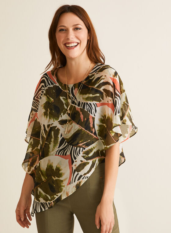 Tropical Print Poncho Blouse, Black