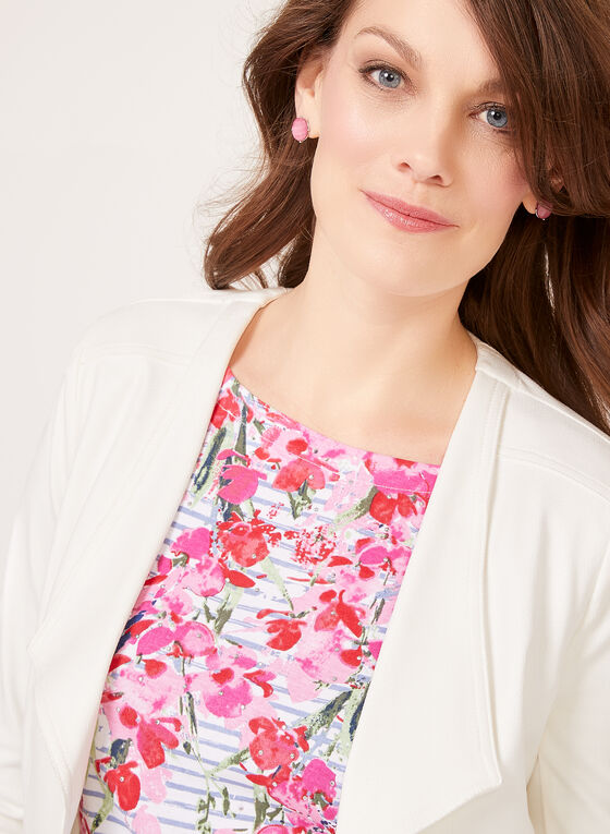 Striped Floral Boat Neck Top, White, hi-res