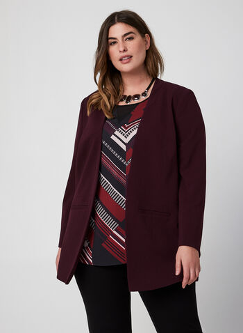Open Front Crepe Blazer, Purple,  long sleeves, crepe, open front, fall 2019, winter 2019