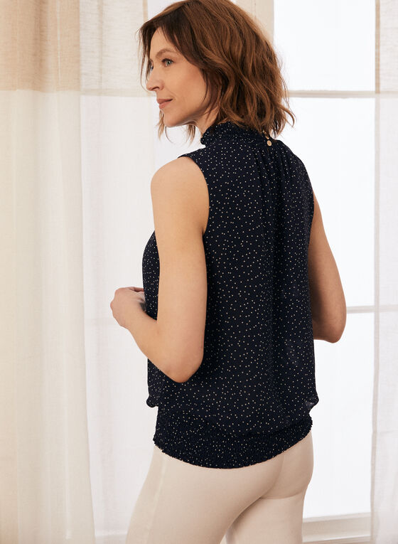 Dotted Print High Neck Blouse, Blue