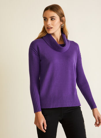 Cowl Neck Sweater , Purple,  fall winter 2020, sweater, dolman sleeves, ribbed, knit, cowl neck, holiday