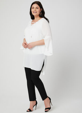 Lace-Up Tunic Blouse, Off White, hi-res