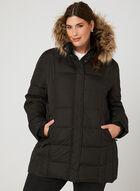 Novelti - Faux Fur Trim Quilted Down Coat, Black, hi-res