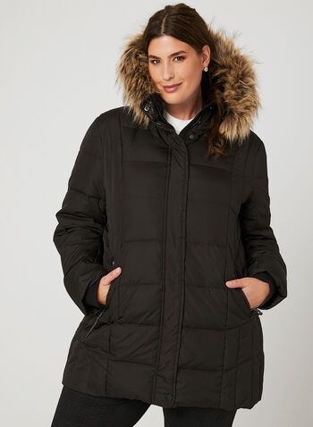 Novelti - Faux Fur Trim Quilted Down Coat, Black, hi-res