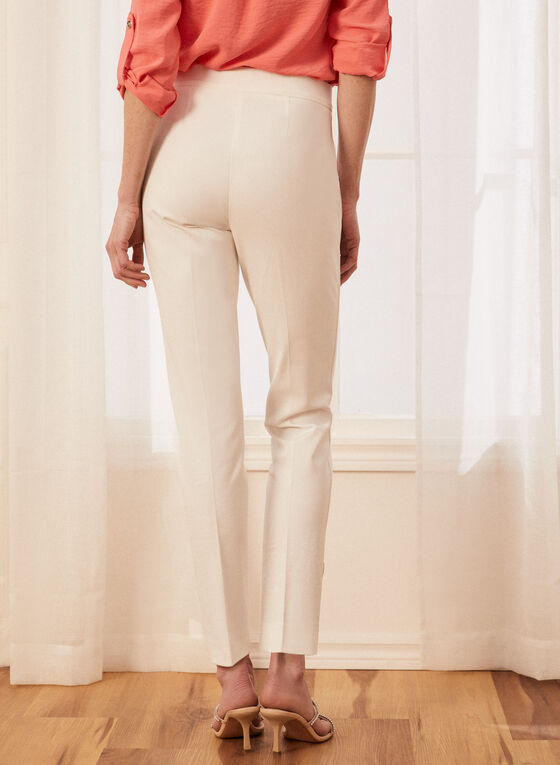 Pantalon coupe cité à détails boutons, Blanc cassé