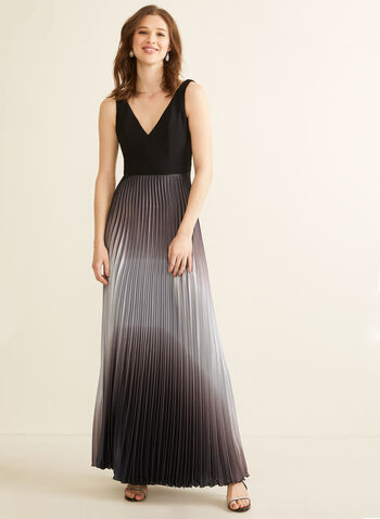 Pleated Ombré Skirt Evening Dress, Black,  dress, evening, occasion, sleeveless, v-neck, ombré, satin, pleated, jersey, spring summer 2020