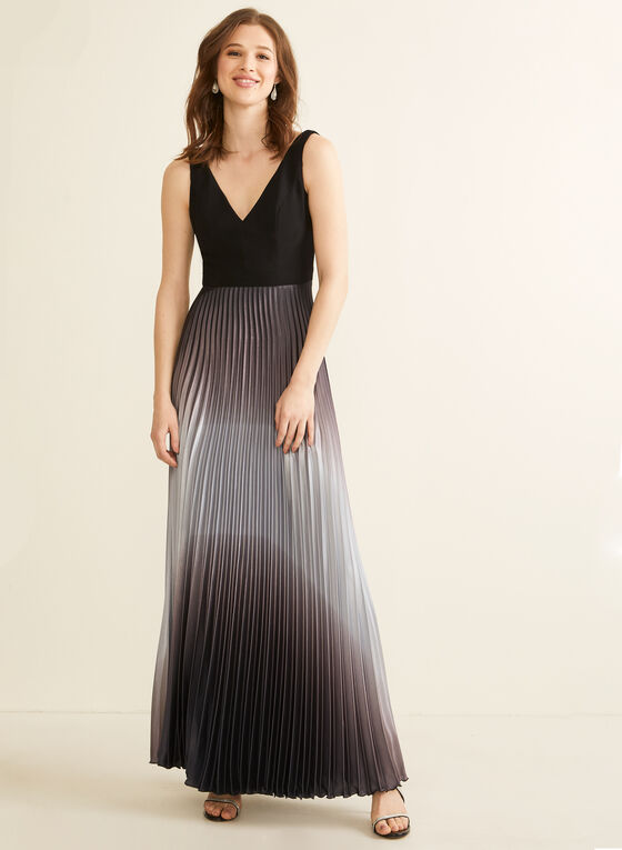 Pleated Ombré Skirt Evening Dress, Black