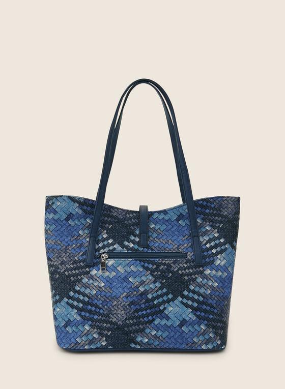 Plaid Print Straw Tote, Blue