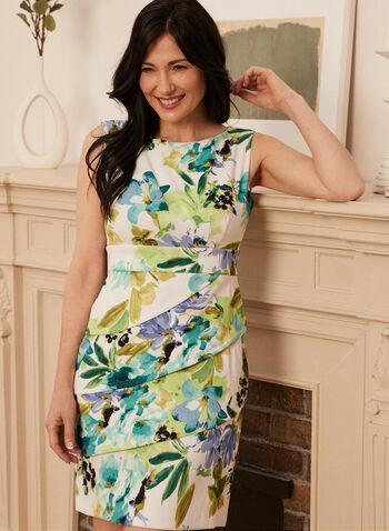 Robe fleurie à détail plissé, Vert,  robe, encolure dégagée, sans manches, taille empire, ajustée, fermeture éclair dos, plissé, floral, fleuri, aquarelle, printemps été 2021