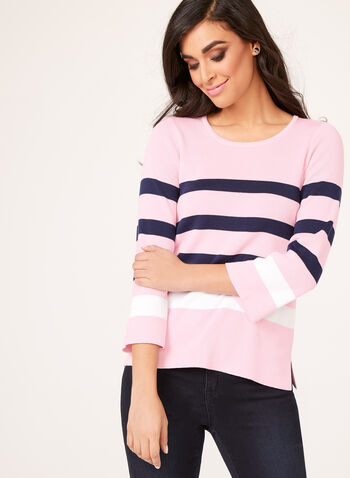 Nautical Inspired Striped Sweater, Multi, hi-res