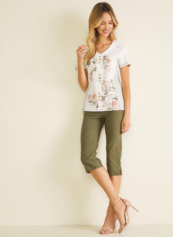 T-shirt à dentelle et motif floral, Blanc