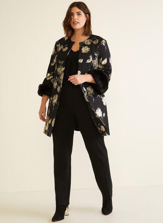 Joseph Ribkoff - Floral Motif Faux Fur Jacket, Black