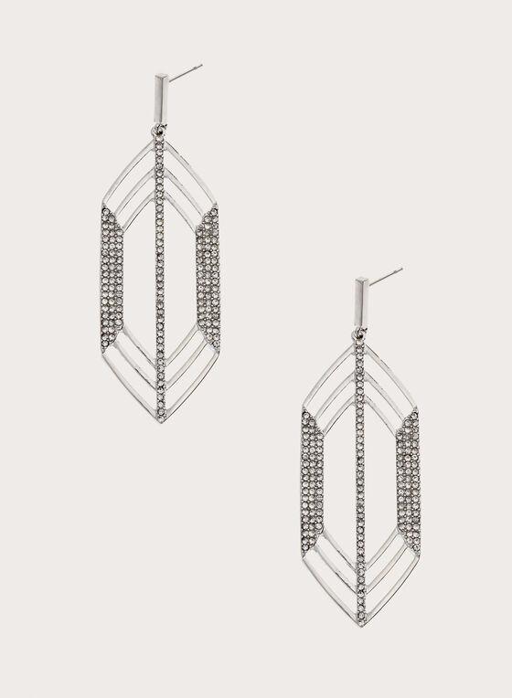 Elongated Geometric Crystal Earrings, Silver, hi-res
