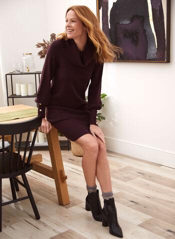 Robe chandail à col bénitier et boutons décoratifs, Violet,  robe, robe chandail, robe de jour, col bénitier, manches longues bouffantes, tricot côtelé, boutons décoratifs, automne hiver 2021, tricot