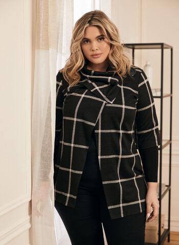 Veste à carreaux et encolure drapée , Noir,  veste, carreaux, chandail, encolure drapée, coupe ouverte, bouton, manches aux coudes, automne hiver 2020, fait au Canada