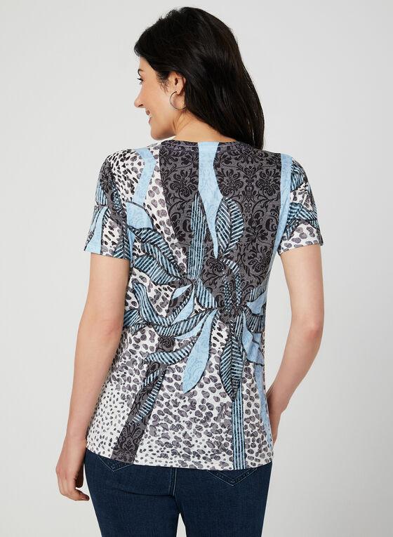 T-shirt floral à détails strass, Bleu