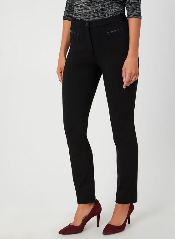 Pantalon coupe signature à détails zippés, Noir, hi-res