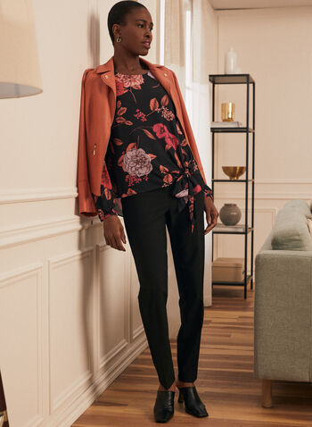 Floral Print Tie Detail Blouse, Black,  top, blouse, floral, tie detail, scoop neck, long sleeves, bubble sleeves, crepe, spring summer 2021