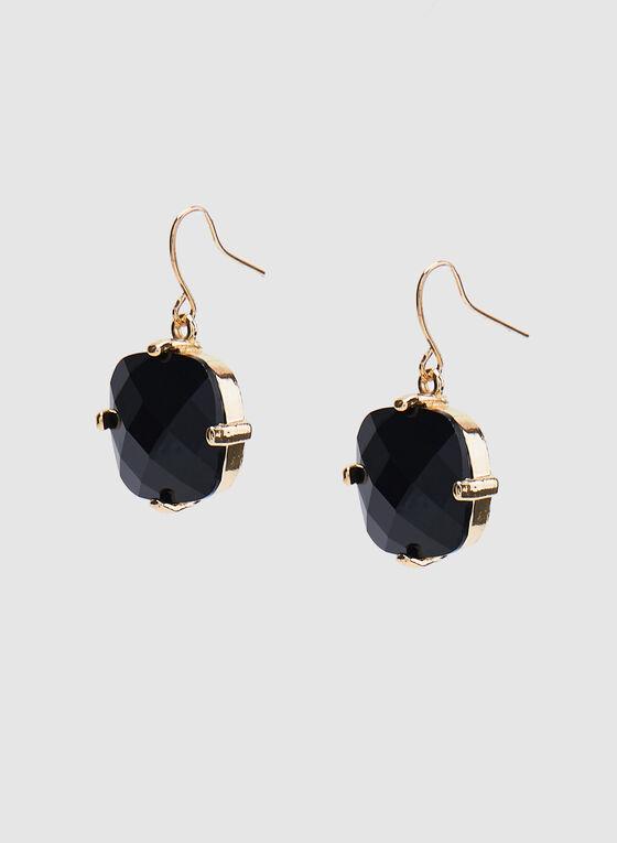 Boucles d'oreilles à pendants pierres carrées, Noir, hi-res