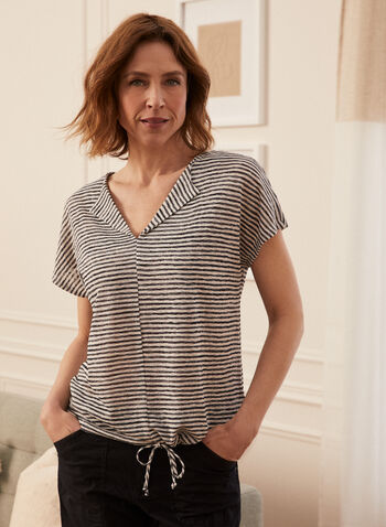 Striped Collared V Neck Top, Blue,  reverse collar, spring summer 2021, made in Canada, top, blouse, lapel collar, V neck, stripe print, striped, collared, tie detail, jersey, drop shoulder, short sleeve, comfort