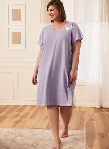 Heart Detail Nightgown, Purple,  pyjama, pj, sleepwear, made in Canada, spring summer 2021, nightshirt, nightgown, heart stitch