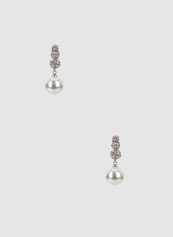 Boucles d'oreilles à cristaux et perles, Blanc cassé