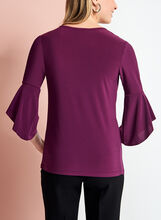 3/4 Bell Sleeve Top, Purple, hi-res