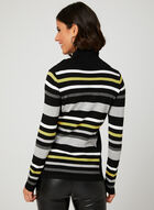 Stripe Print Cowl Neck Sweater, Green, hi-res