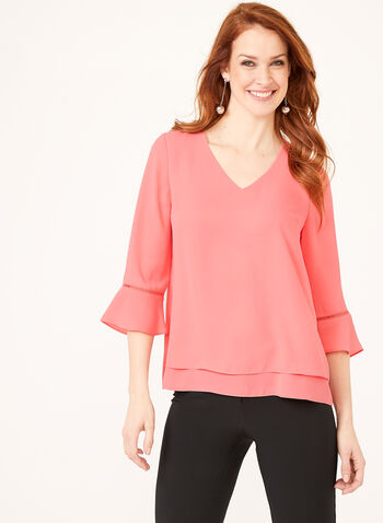 Double Layer Crepe Blouse , Orange, hi-res