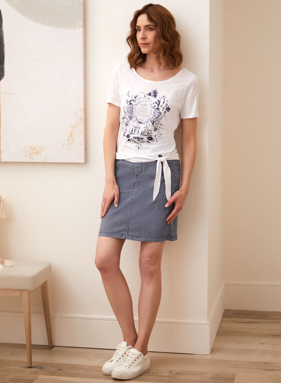 Charlie B - Striped Denim Skirt, Blue