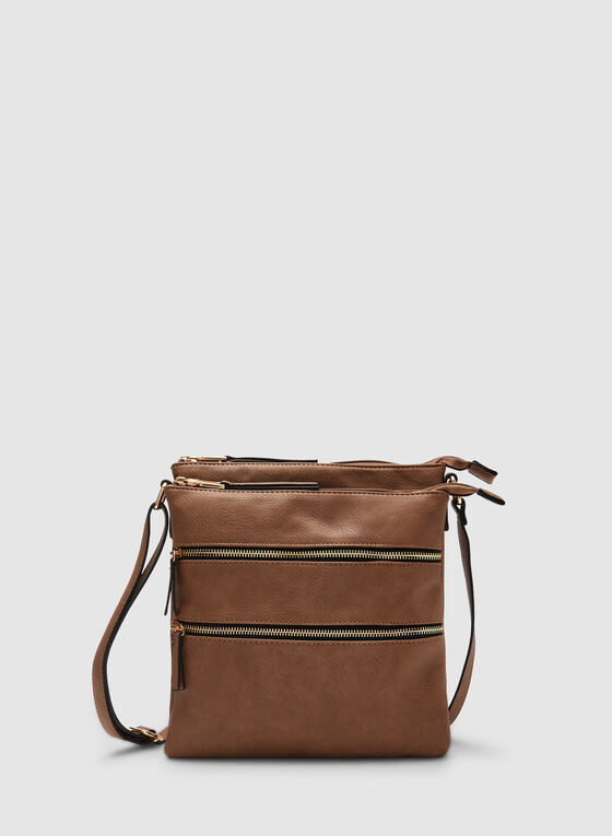 Zipper Crossbody Bag, Brown
