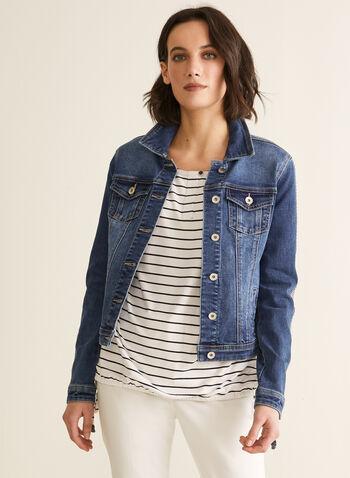 Veste en denim à détails strass, Bleu,  printemps été 2020, veste, denim, strass, poches, délavé, boutons, cristaux