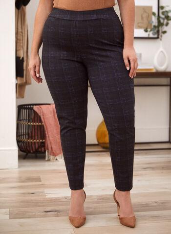 Pantalon carreauté à jambe étroite, Bleu,  automne hiver 2020, pantalon, pull-on, taille élastique, à enfiler, jambe étroite, carreaux, motif, carreauté