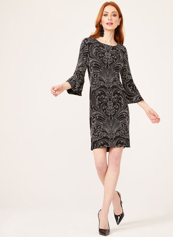 Baroque Style Puff Print Popover Dress, Black, hi-res