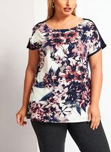 Floral Print Short Sleeve Tunic, Red, hi-res